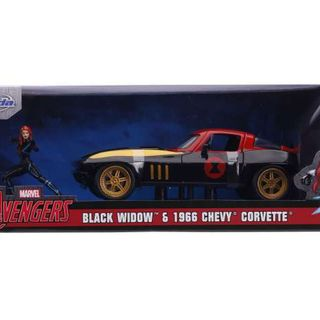 Jada Marvel Avengers Black Widow & 1966 Chevrolet Corvette  1/24