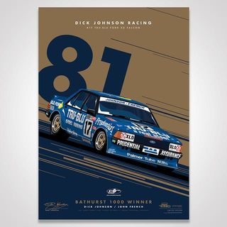 Dick Johnson Racing Tru-Blu Ford Falcon XD 1981 Bathurst 1000 Winner - Metallic Gold Limited Edition Signed Print