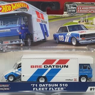 Hot Wheels 1971 Datsun 510 on a Fleet Flyer Truck