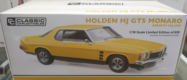 Holden Monaro HJ GTS Absinth Yellow Roadcar 1/18 Classic Carlectables
