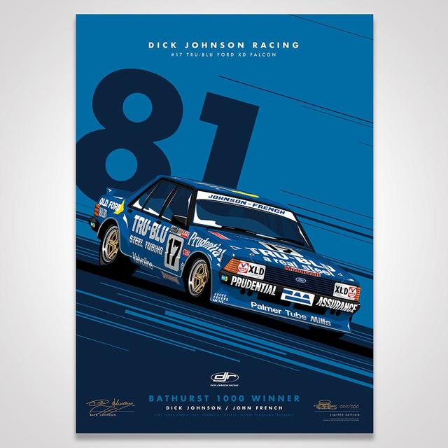Dick Johnson Racing Tru-Blu Ford Falcon XD 1981 Bathurst 1000 Winner - Blue Limited Edition Signed Print